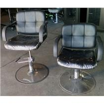 Lot of Two Tispro Black Hydraulic Barber Tattoo Salon Chairs - PICK UP ONLY