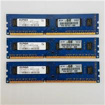 HP ELPIDA 6GB Kit (3 X 2GB) 2Rx8 PC3 10600U 497157-B88 EBJ21UE8BDF0-DJ-F