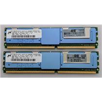 Lot of 2 HP Micron 8GB 2RX4 PC2 5300F MT36HTS1G72FY-667A1D4 398709-071 16GB Kit