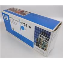 NEW Genuine OEM HP Color Laserjet Q7581A Cyan Toner Cartridge
