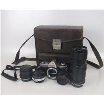 Lot of Vintage 35mm SLR Film Camera Body Lens and Case