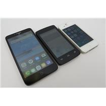 Dealer Lot Of 3 Smartphones Cell Phones ZTE Alcatel & iPhone - Unknown Carriers