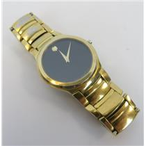 Movado 88 G2 1851 Black Dial Gold-Tone Band Stainless Steel Men's Wristwatch