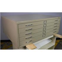 "Safco Five Drawer Filing Cabinet Blueprints Maps 46.75""Wx35.5""Dx16.5""T"