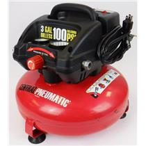 Central Pneumatic 95275 3 Gallon 100 PSI Oil less Pancake Air Compressor TESTED