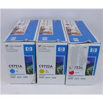 Lot of 3 NEW HP Color LaserJet Toner Cartridges C9721A C9722A C9723A