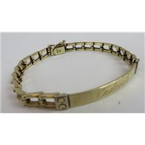 14k Yellow Gold Chain ID Bracelet - 15.77g Total Weight