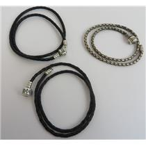 Lot Of 3 Authentic Pandora Braided Double Leather Bracelets Stamped S925 ALE