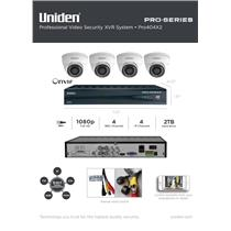 Uniden PRO404X2 Security XVR Kit 4-Channel 4x BNC 4x IP w/ 2TB + 4x Dome Cameras