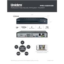 Uniden PRO400X1 Pro Security System XVR 8-Channel 4x IP 4x Coax w/ 1TB HDD