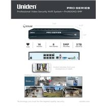 Uniden PRO1600N3-5MP Pro Security System NVR 16-Channel 8x PoE w/ 3TB HDD