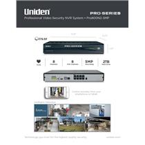 Uniden PRO800N2-5MP Pro Series Security System NVR 8-Channel PoE w/ 2TB HDD