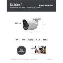 Uniden Pro Series 2.0-Megapixel Coax Tamperproof Bullet Camera 2MB-3.6-BNC