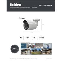 Uniden Pro Series 4.0-Megapixel IP Tamperproof 3.6mm Bullet Camera 4MB-3.6
