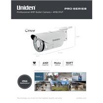 Uniden Pro Series 4.0-Megapixel IP Tamperproof Varifocal Bullet Camera 4MB-MVF