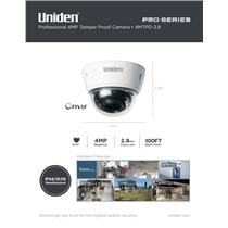 Uniden Pro Series 4.0-Megapixel IP Tamperproof Fixed Dome Camera 4MTPD-2.8