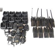 Lot of 9 iCom Two-Way Handheld Radios & 10 Chargers - TESTED & WORKING
