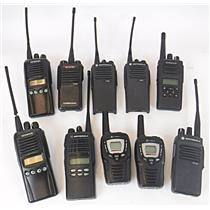 Lot of 10 Two-Way Radios Kenwood Motorola Cobra - UNTESTED