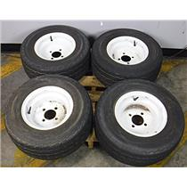 Lot of 4 Trail America KT-705-06 20.5x8.0-10 77M Tubeless Tires with 4 Lug Rims