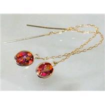 E005, Twilight Fire Topaz, 14k Gold Earrings