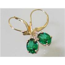 E007, Russian Nanocrystal Emerald, 14k Gold Earrings