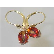 E007, Twilight Fire Topaz, 14k Gold Earrings