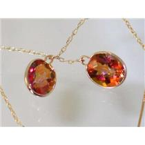 E105, Twilight Fire Topaz, 14k Gold Threader Earrings