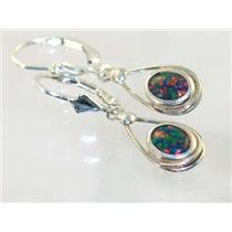 SE008, Created Black Opal, 925 Sterling Silver Earrings