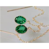 E005, Russian Nanocrystal Emerald, 14k Gold Earrings