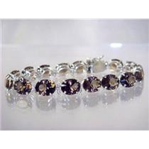 SB003, Smoky Quartz, 925 Sterling Silver Bracelet