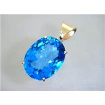 P082, Swiss Blue Topaz 14K Gold Pendant