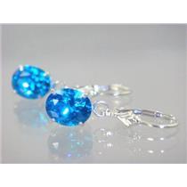 Swiss Blue CZ, 925 Sterling Silver Earrings, SE107