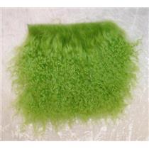 """2"""" sq  Lime green   tibetan lambskin  wig  11411"""