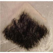 "2""  White w black tips tibetan lambskin no seams 11861"
