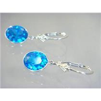 SE101, Glacier Blue CZ, 925 Sterling Silver Earrings