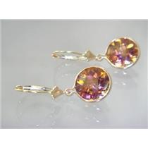 E211, Twilight Fire Topaz, 14k Gold Earrings