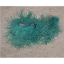 Brilliant turquoise tibetan lamskin scrap sample  22964