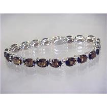 SB002, Smoky Quartz, 925 Sterling Silver Bracelet