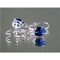 Created Blue Sapphire, 925 Silver Earrings, SE007,