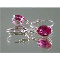 Created Pink Sapphire, 925 Silver Earrings, SE007