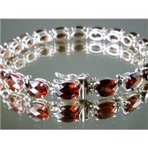 SB002, Mozambique Garnet 925 Sterling Silver Bracelet