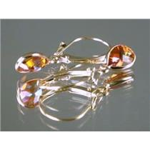 E021, Twilight Fire Topaz Gold Earrings