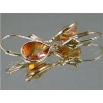 E121, Twilight Fire Topaz Gold Earrings