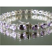 SB001, Amethyst Sterling Silver Bracelet