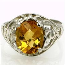 SR004, Citrine, 925 Sterling Silver Ring