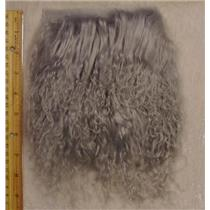 "4""sq silver tibetan lambskin doll hair curly wool 23842"