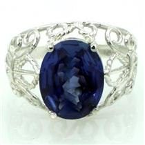 SR162, Created Blue Sapphire, 925 Sterling Silver Ring