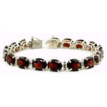 SB003, Mozambique Garnet 925 Sterling Silver Bracelet