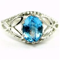SR137, Swiss Blue Topaz, 925 Sterling Silver Ring