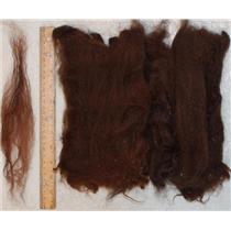 """Llama wool Nat. Dark brown washed,6-12"""" long doll hair -spinning-felt 1oz 25063"""
